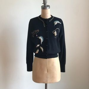 Amazing Vintage Black Cardigan With Embroidery